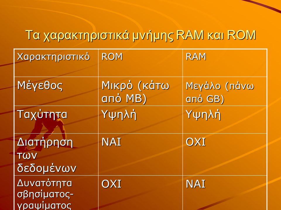 Τα χαρακτηριστικά μνήμης RAM και ROM