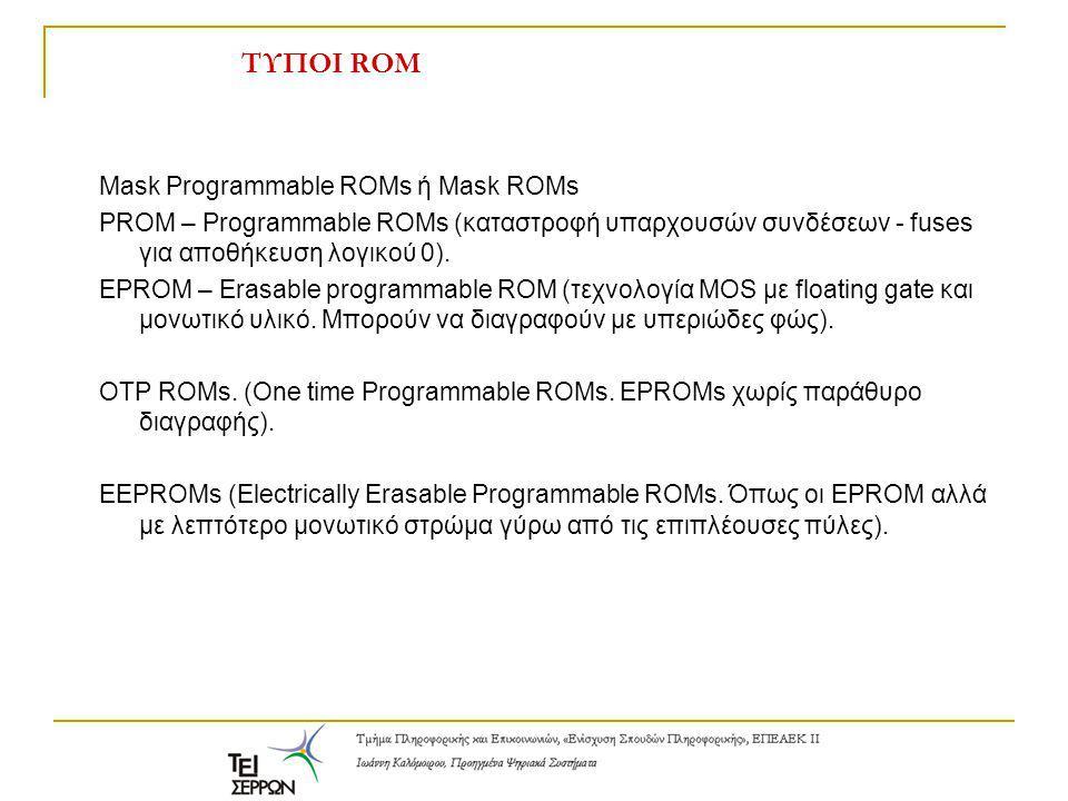 ΤΥΠΟΙ ROM Mask Programmable ROMs ή Mask ROMs