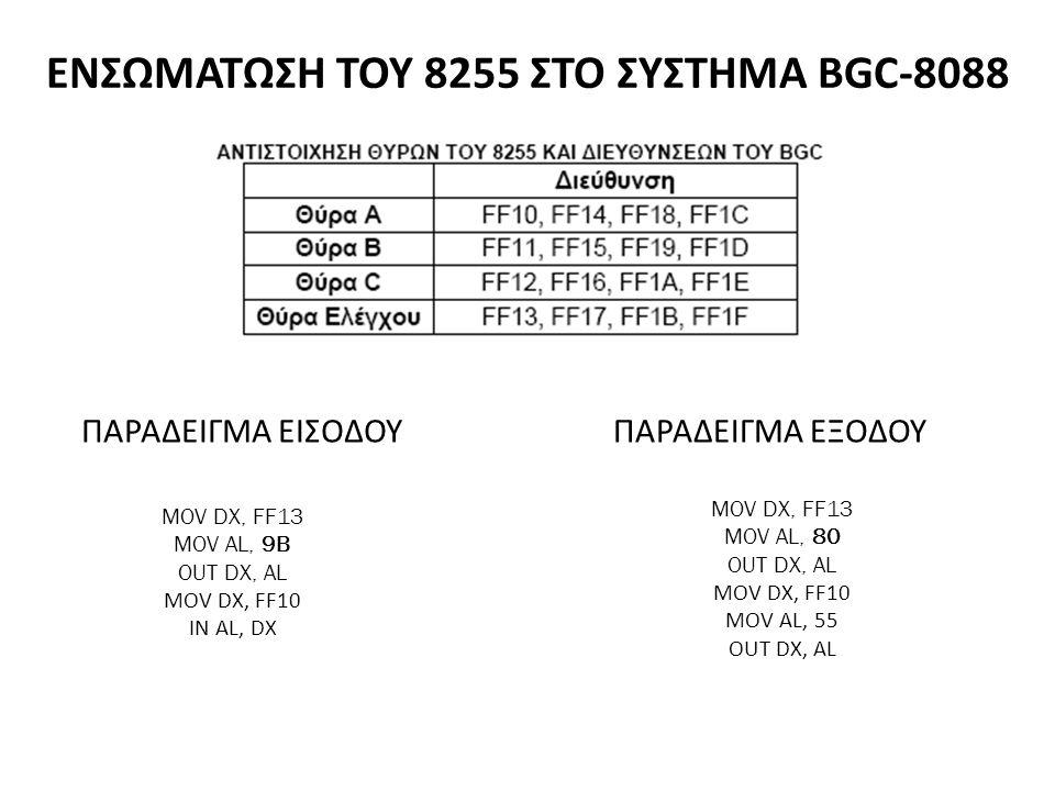 ΕΝΣΩΜΑΤΩΣΗ ΤΟΥ 8255 ΣΤΟ ΣΥΣΤΗΜΑ BGC-8088