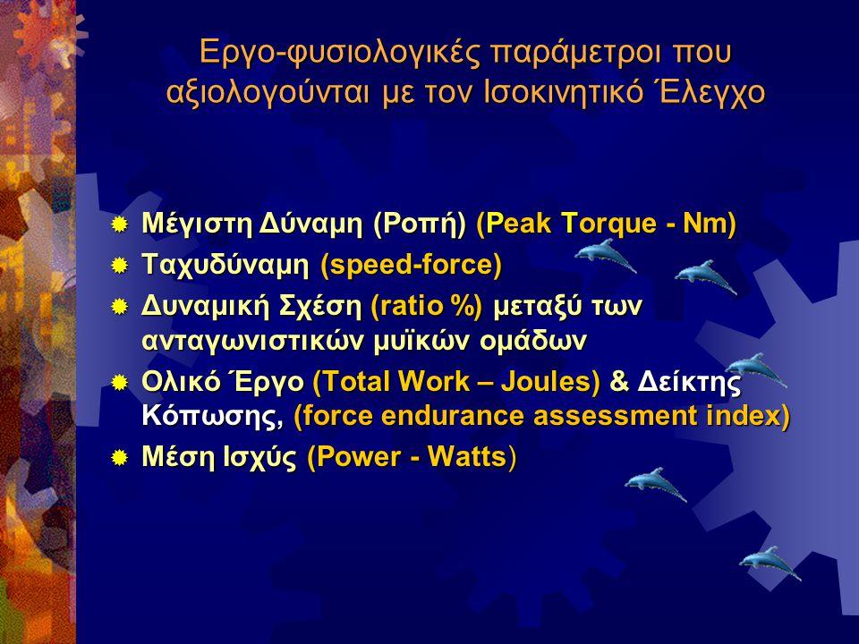 Εργο-φυσιολογικές παράμετροι που αξιολογούνται με τον Ισοκινητικό Έλεγχο