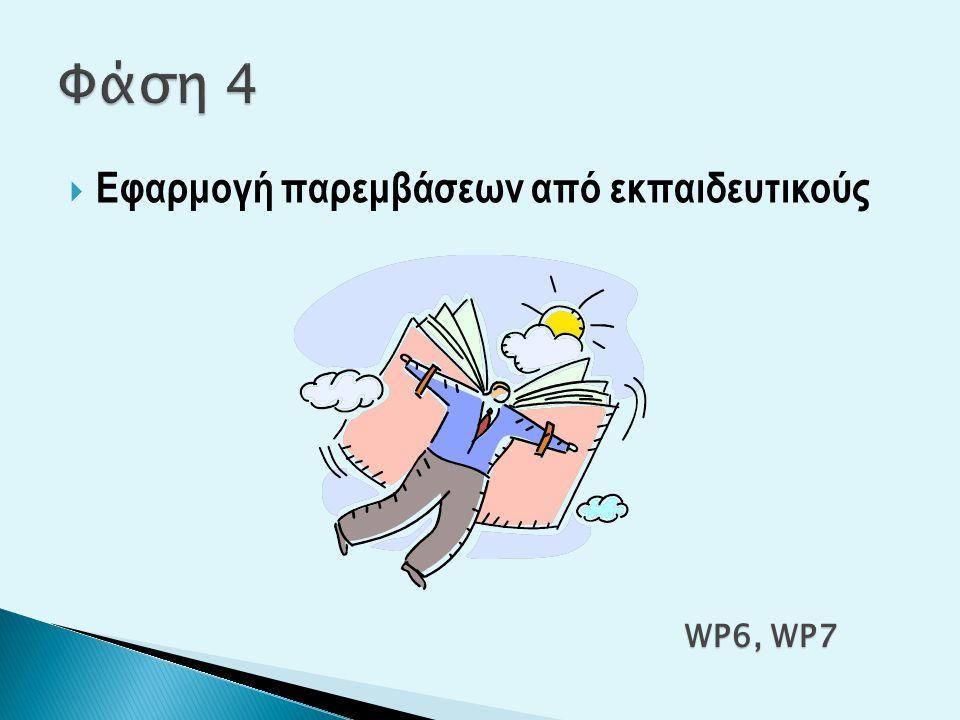 Φάση 4 Εφαρμογή παρεμβάσεων από εκπαιδευτικούς WP6, WP7