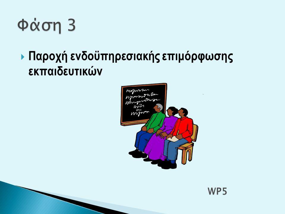 Φάση 3 Παροχή ενδοϋπηρεσιακής επιμόρφωσης εκπαιδευτικών WP5