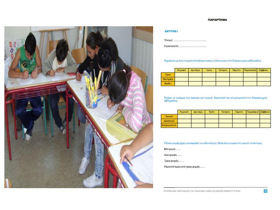 Οι μαθητές συμπληρώνουν ερωτηματολόγια.