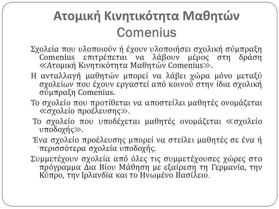 Ατομική Κινητικότητα Μαθητών Comenius