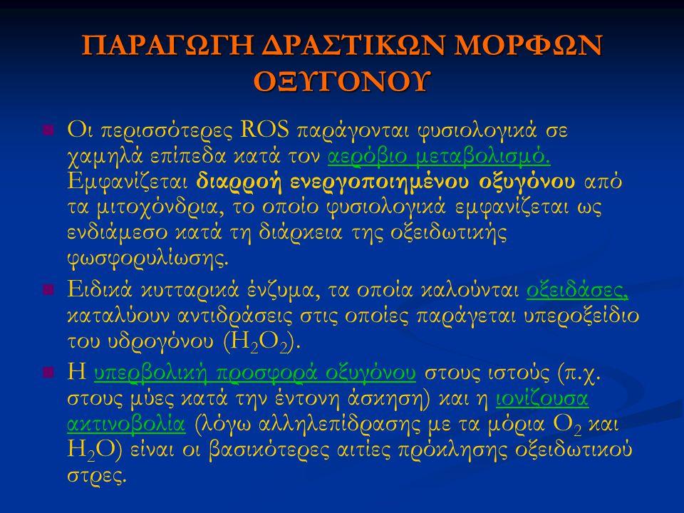 ΠΑΡΑΓΩΓΗ ΔΡΑΣΤΙΚΩΝ ΜΟΡΦΩΝ ΟΞΥΓΟΝΟΥ