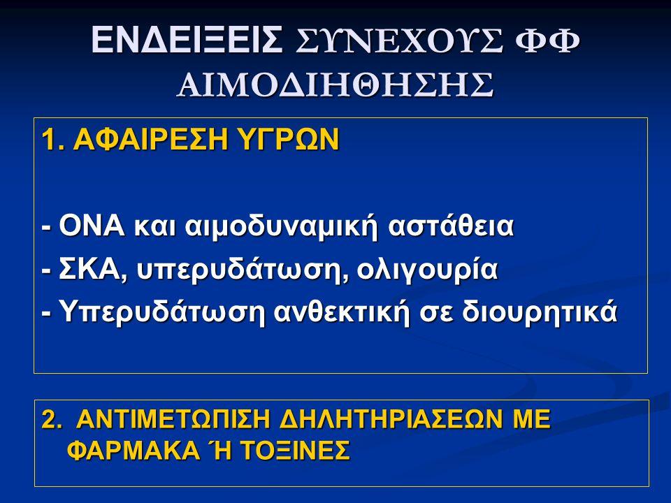 ΕΝΔΕΙΞΕΙΣ ΣΥΝΕΧΟΥΣ ΦΦ ΑΙΜΟΔΙΗΘΗΣΗΣ