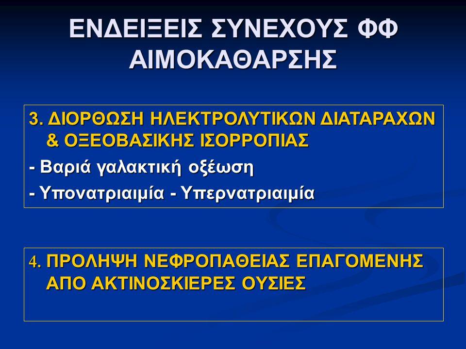 ΕΝΔΕΙΞΕΙΣ ΣΥΝΕΧΟΥΣ ΦΦ ΑΙΜΟΚΑΘΑΡΣΗΣ