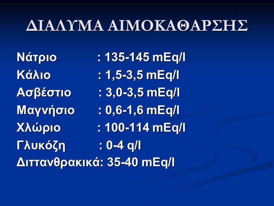 ΔΙΑΛΥΜΑ ΑΙΜΟΚΑΘΑΡΣΗΣ Νάτριο : 135-145 mEq/l Κάλιο : 1,5-3,5 mEq/l
