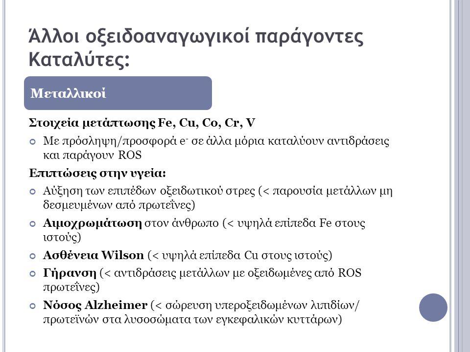 Άλλοι οξειδοαναγωγικοί παράγοντες Καταλύτες: