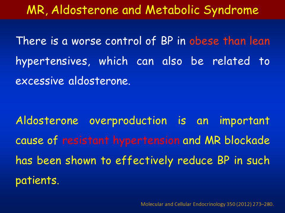 MR, Aldosterone and Metabolic Syndrome