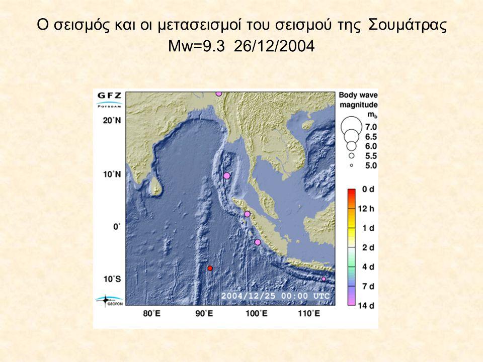 Ο σεισμός και οι μετασεισμοί του σεισμού της Σουμάτρας Μw=9