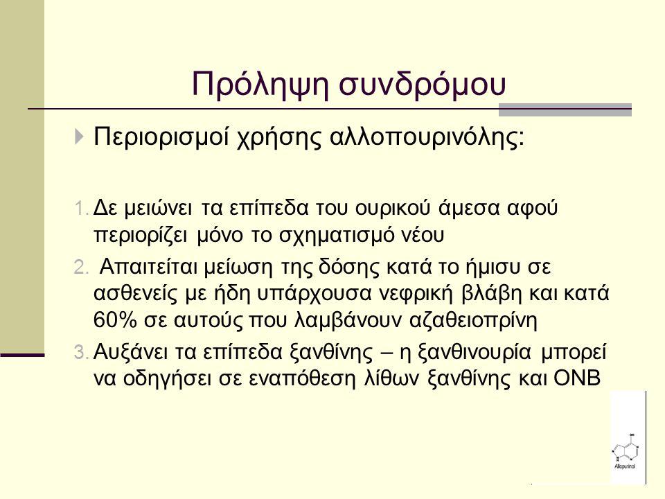 Πρόληψη συνδρόμου Περιορισμοί χρήσης αλλοπουρινόλης: