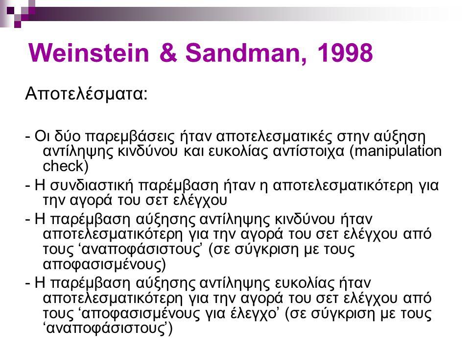 Weinstein & Sandman, 1998 Αποτελέσματα:
