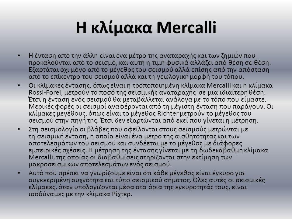 Η κλίμακα Mercalli