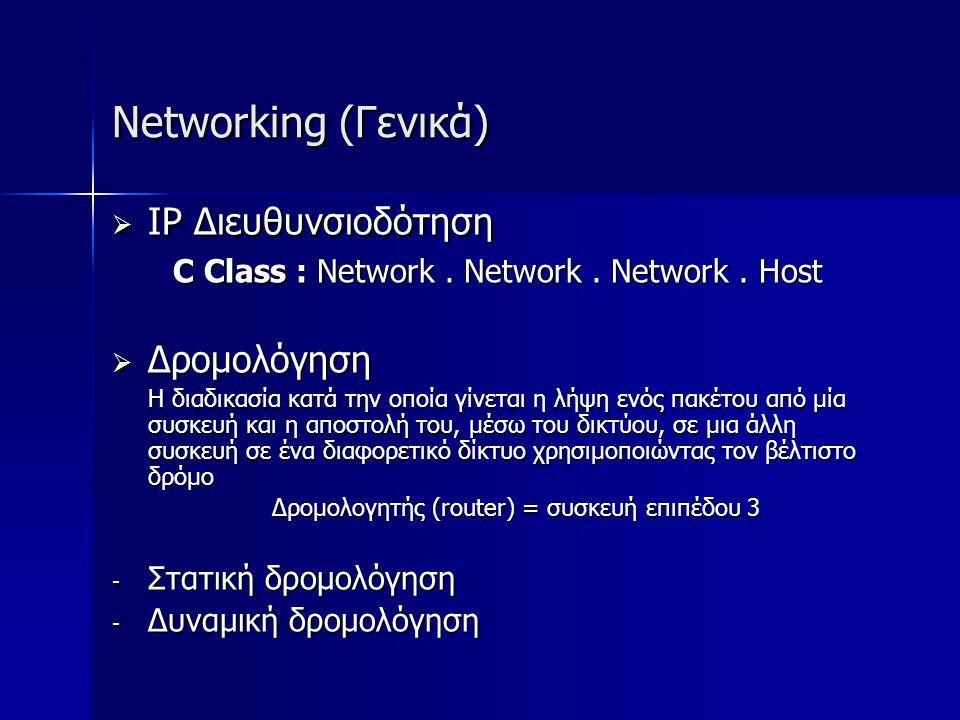 Networking (Γενικά) IP Διευθυνσιοδότηση Δρομολόγηση