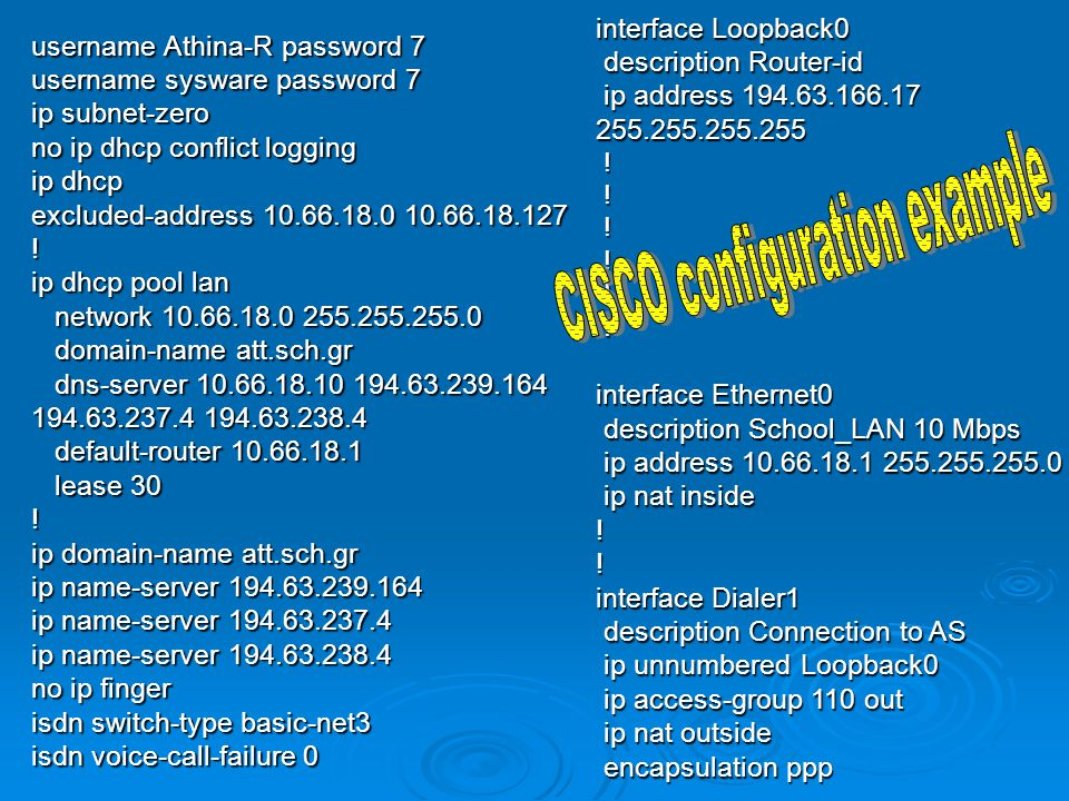 CISCO configuration example