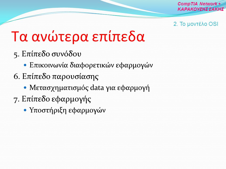 Τα ανώτερα επίπεδα 5. Επίπεδο συνόδου 6. Επίπεδο παρουσίασης