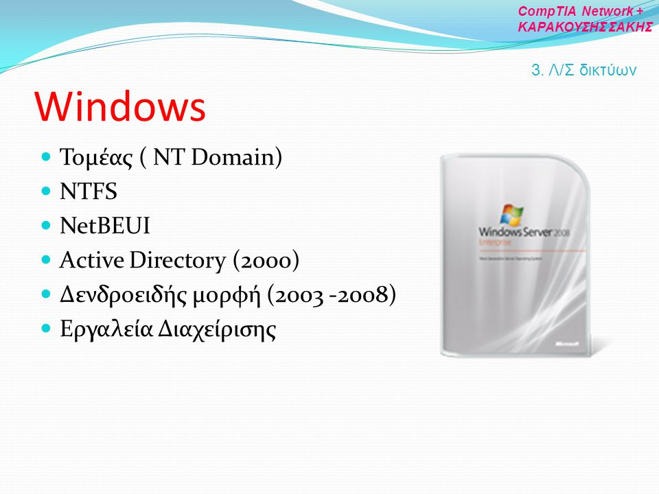 Windows Τομέας ( NT Domain) NTFS NetBEUI Active Directory (2000)