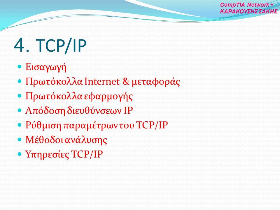 4. TCP/IP Εισαγωγή Πρωτόκολλα Internet & μεταφοράς