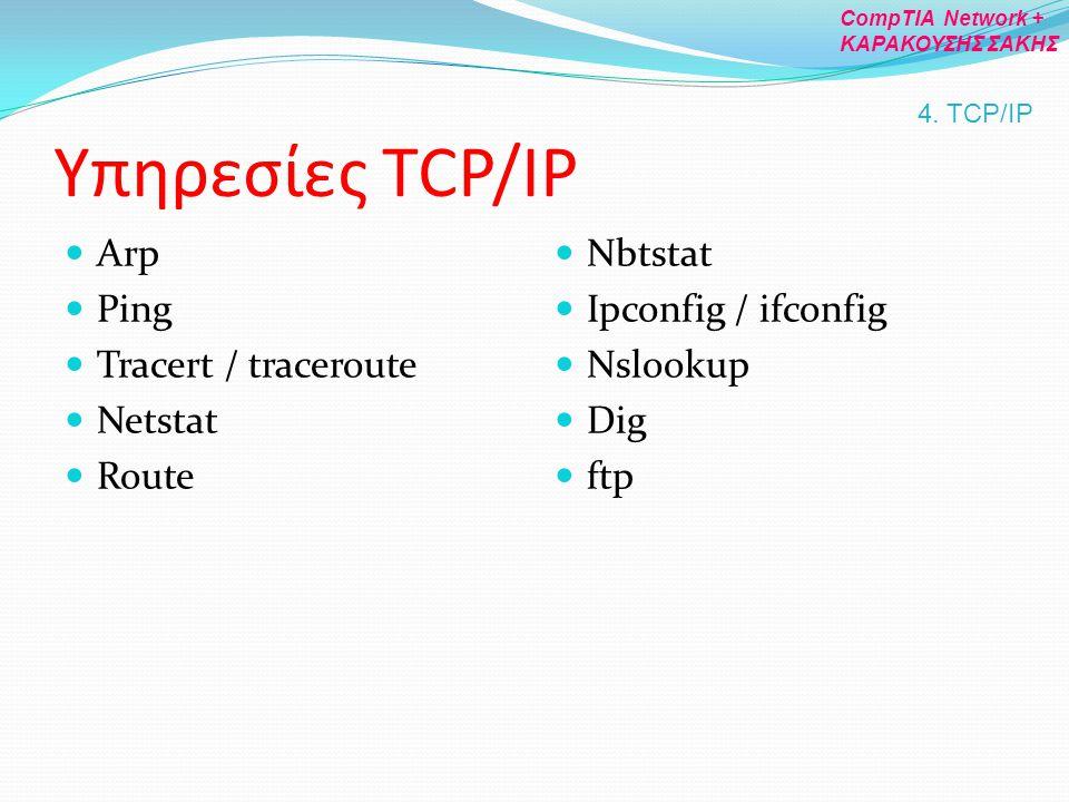 Υπηρεσίες TCP/IP Arp Ping Tracert / traceroute Netstat Route Nbtstat