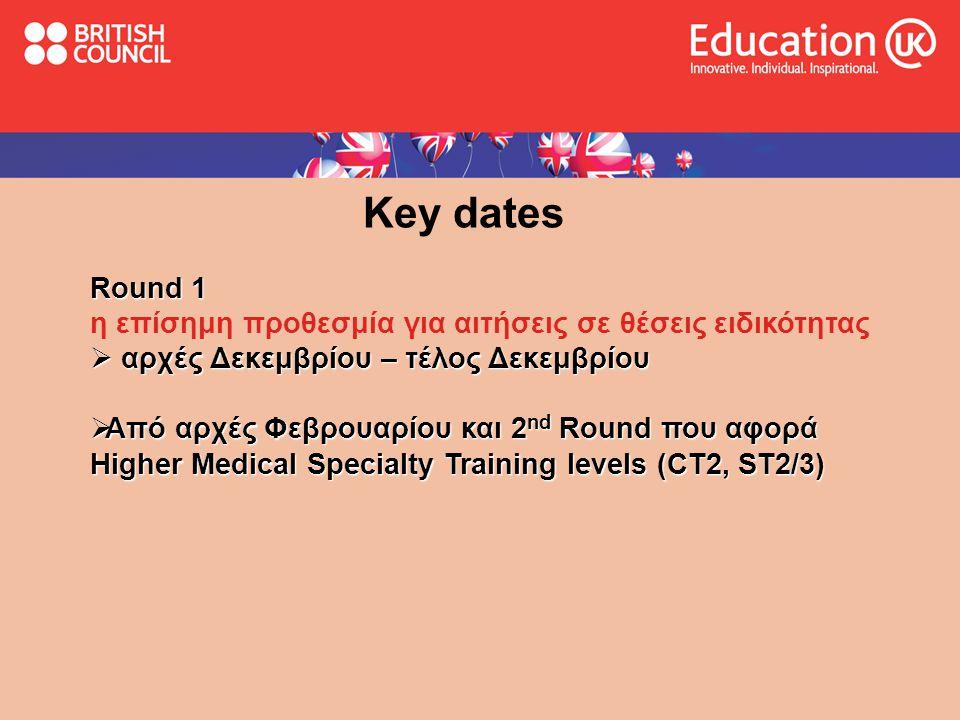 Key dates Round 1. η επίσημη προθεσμία για αιτήσεις σε θέσεις ειδικότητας. αρχές Δεκεμβρίου – τέλος Δεκεμβρίου.