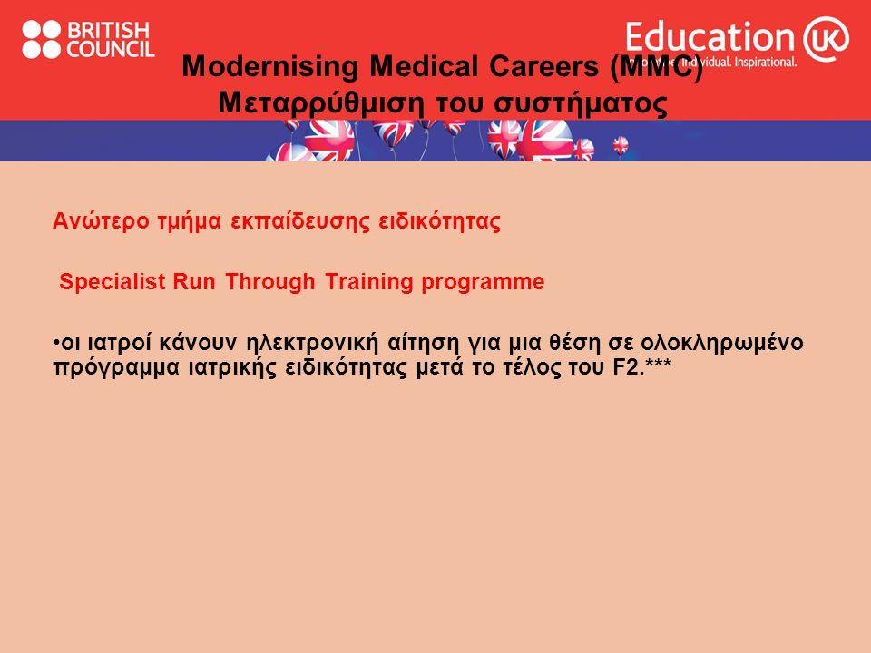 Modernising Medical Careers (MMC) Μεταρρύθμιση του συστήματος