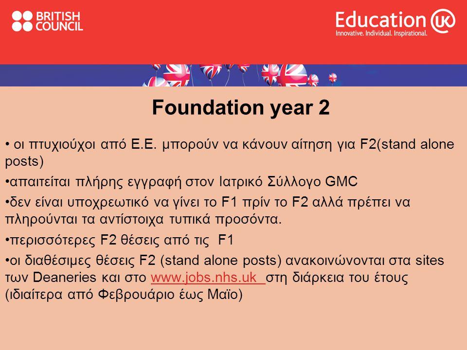 Foundation year 2 οι πτυχιούχοι από Ε.Ε. μπορούν να κάνουν αίτηση για F2(stand alone posts) απαιτείται πλήρης εγγραφή στον Ιατρικό Σύλλογο GMC.