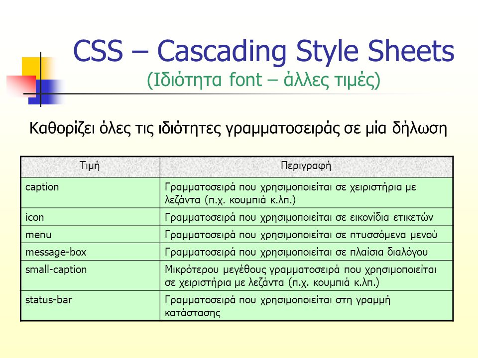 CSS – Cascading Style Sheets (Ιδιότητα font – άλλες τιμές)