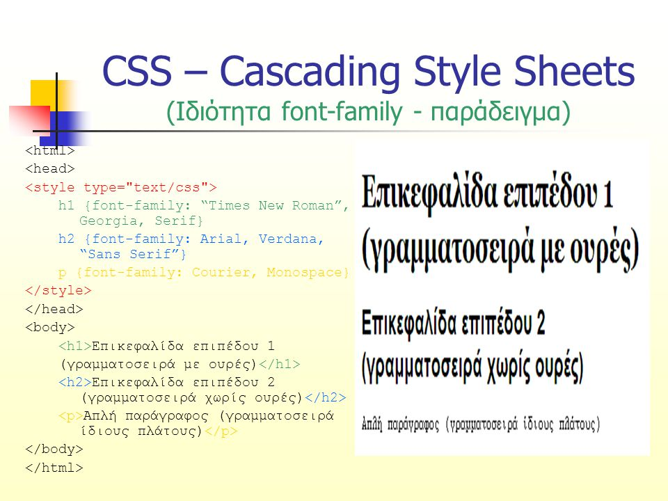 CSS – Cascading Style Sheets (Ιδιότητα font-family - παράδειγμα)