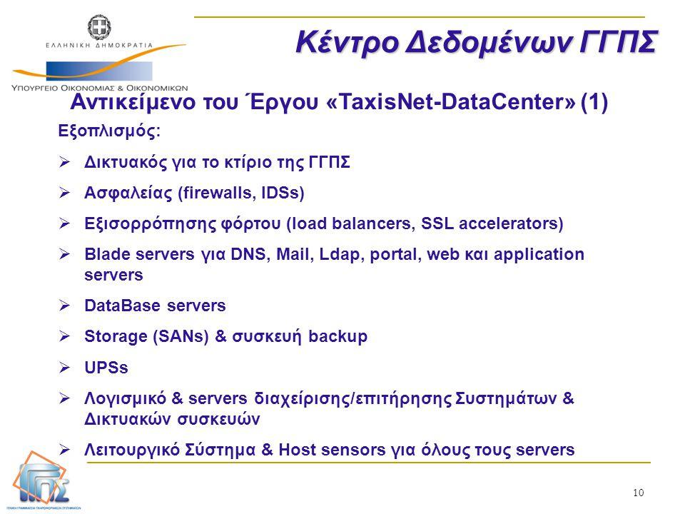 Αντικείμενο του Έργου «TaxisNet-DataCenter» (1)