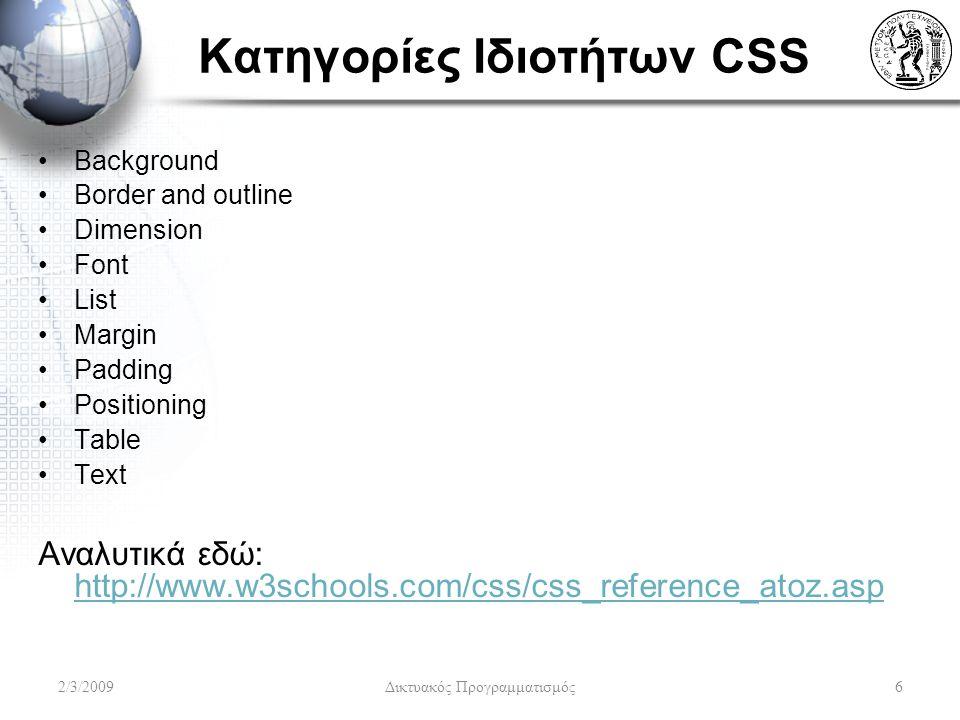 Κατηγορίες Ιδιοτήτων CSS