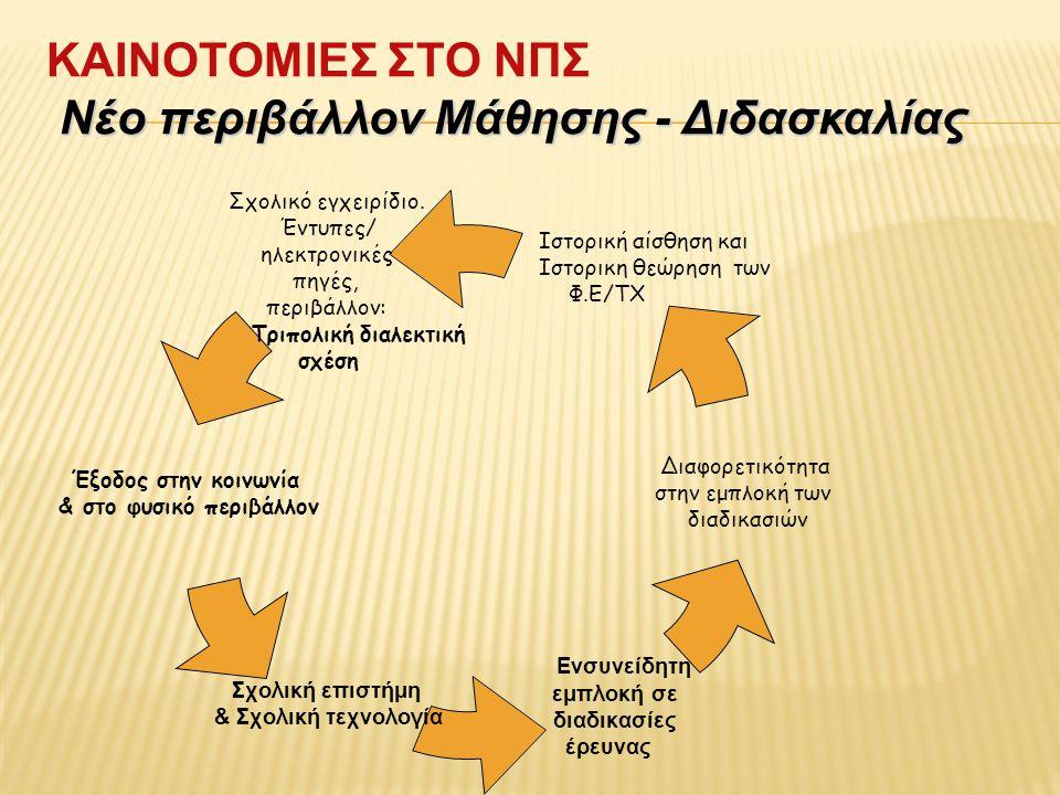 ΚΑΙΝΟΤΟΜΙΕΣ ΣΤΟ ΝΠΣ Νέο περιβάλλοv Μάθησης - Διδασκαλίας