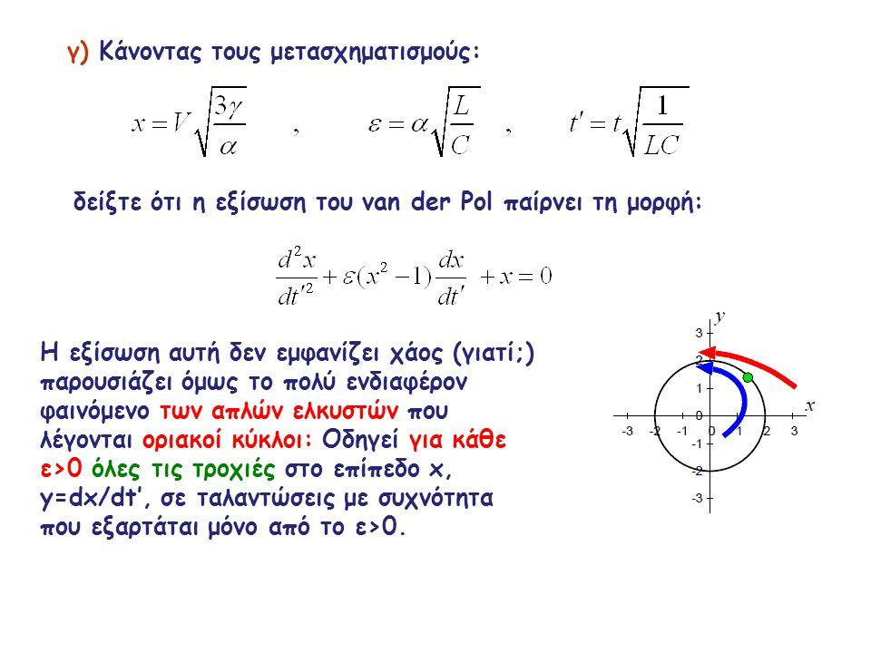 γ) Κάνοντας τους μετασχηματισμούς: