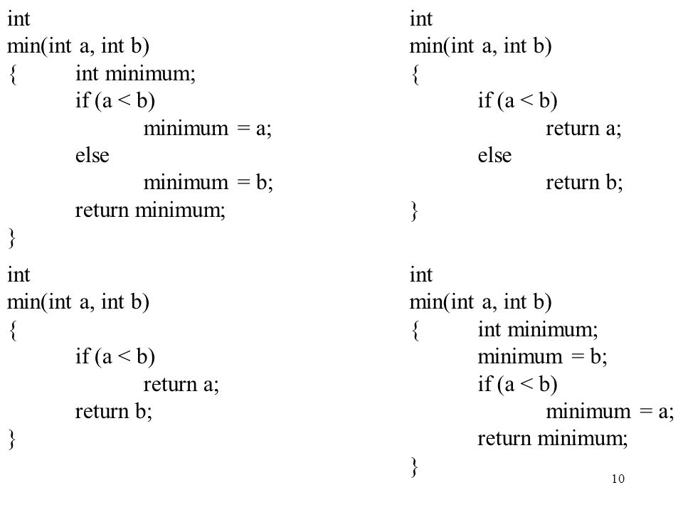 int min(int a, int b) { int minimum; if (a < b) minimum = a; else. minimum = b; return minimum;