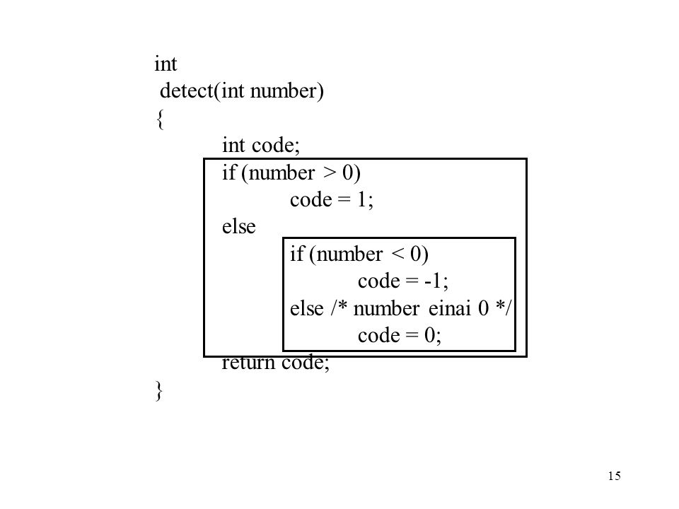 int detect(int number) { int code; if (number > 0) code = 1; else. if (number < 0) code = -1;
