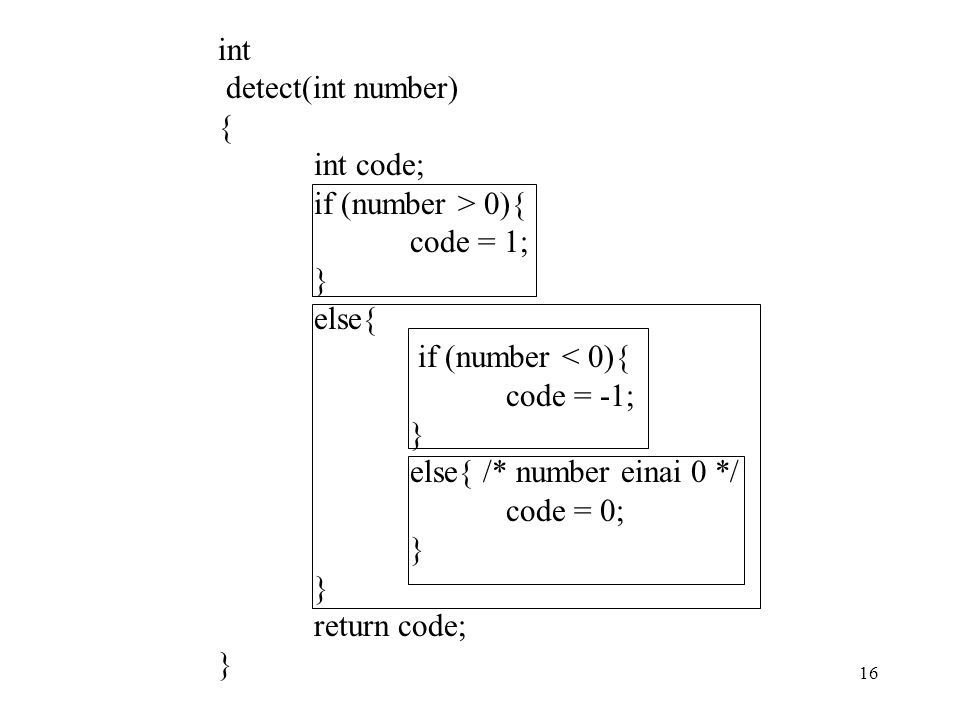 int detect(int number) { int code; if (number > 0){ code = 1; } else{ if (number < 0){ code = -1;