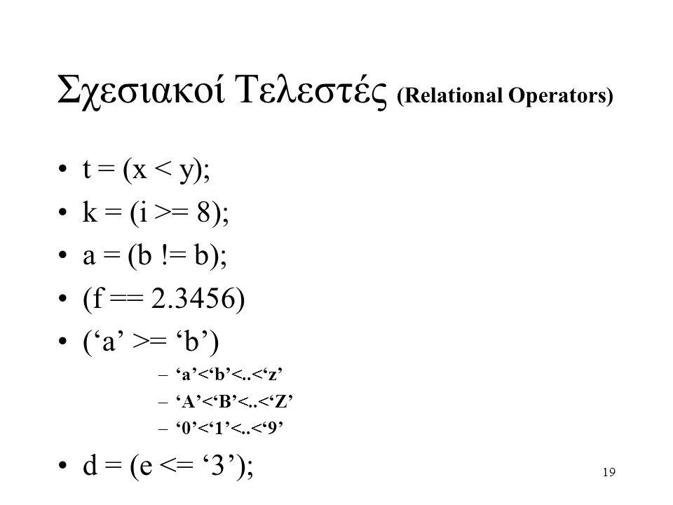 Σχεσιακοί Τελεστές (Relational Operators)
