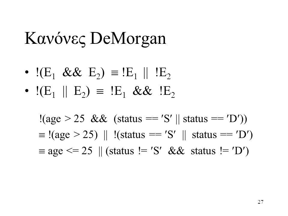 Κανόνες DeMorgan !(E1 && E2)  !E1  !E2 !(E1  E2)  !E1 && !E2