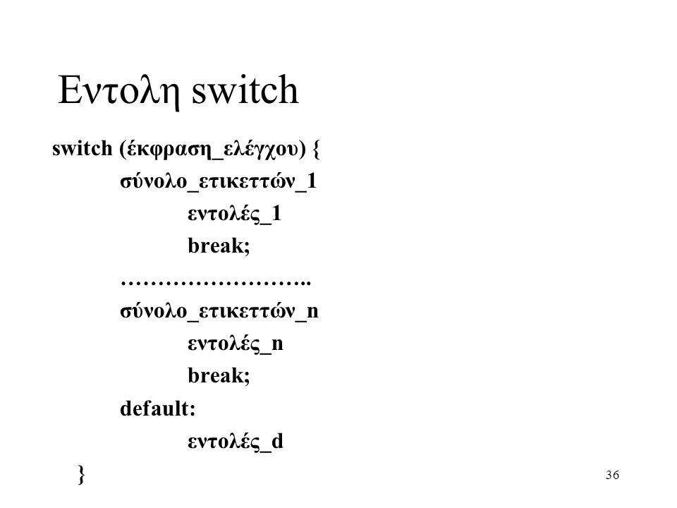 Εντολη switch switch (έκφραση_ελέγχου) { σύνολο_ετικεττών_1 εντολές_1