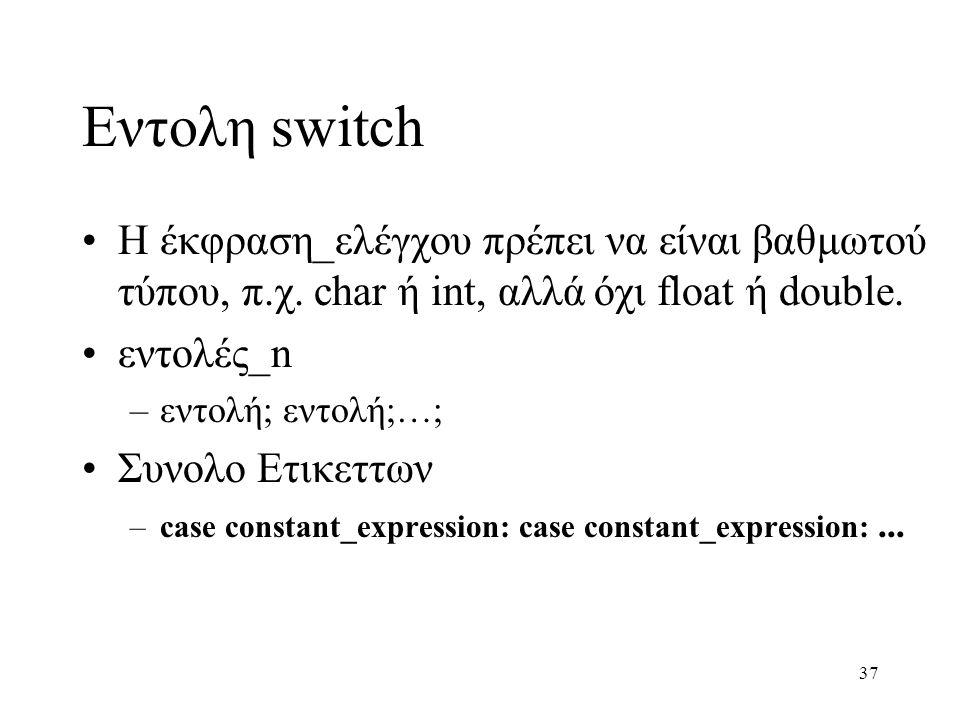 Εντολη switch Η έκφραση_ελέγχου πρέπει να είναι βαθμωτού τύπου, π.χ. char ή int, αλλά όχι float ή double.