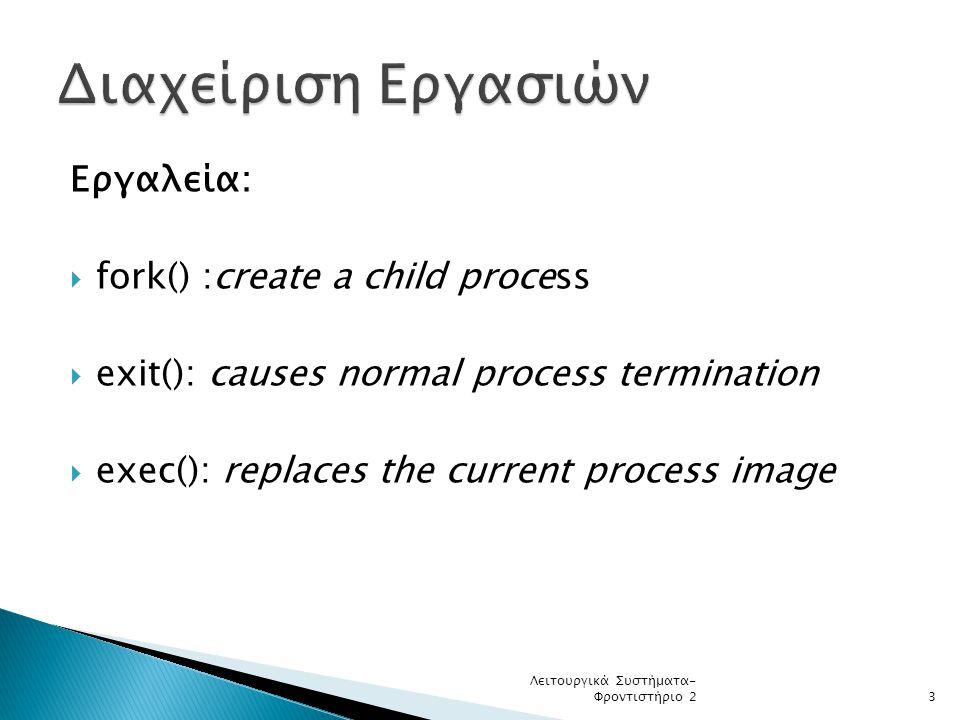 Διαχείριση Εργασιών Εργαλεία: fork() :create a child process