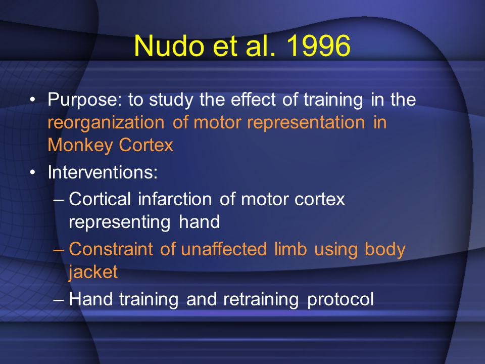 Nudo et al. 1996 Purpose: to study the effect of training in the reorganization of motor representation in Monkey Cortex.