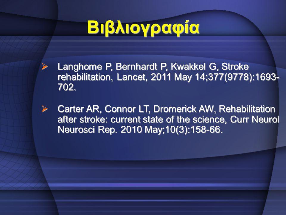 Βιβλιογραφία Langhome P, Bernhardt P, Kwakkel G, Stroke rehabilitation, Lancet, 2011 May 14;377(9778):1693- 702.