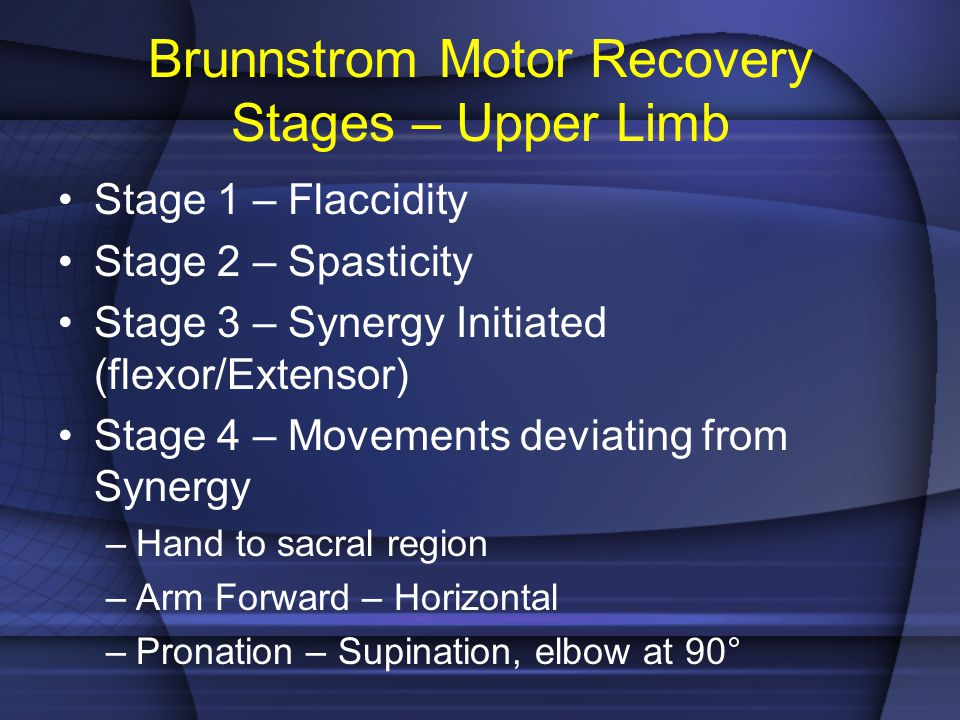 Brunnstrom Motor Recovery Stages – Upper Limb