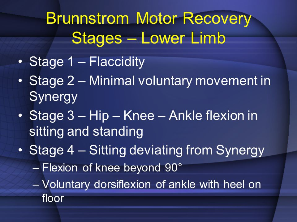 Brunnstrom Motor Recovery Stages – Lower Limb