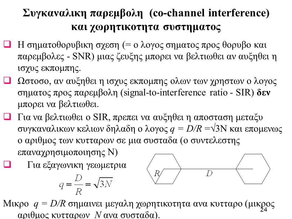 Συγκαναλικη παρεμβολη (co-channel interference) και χωρητικοτητα συστηματος