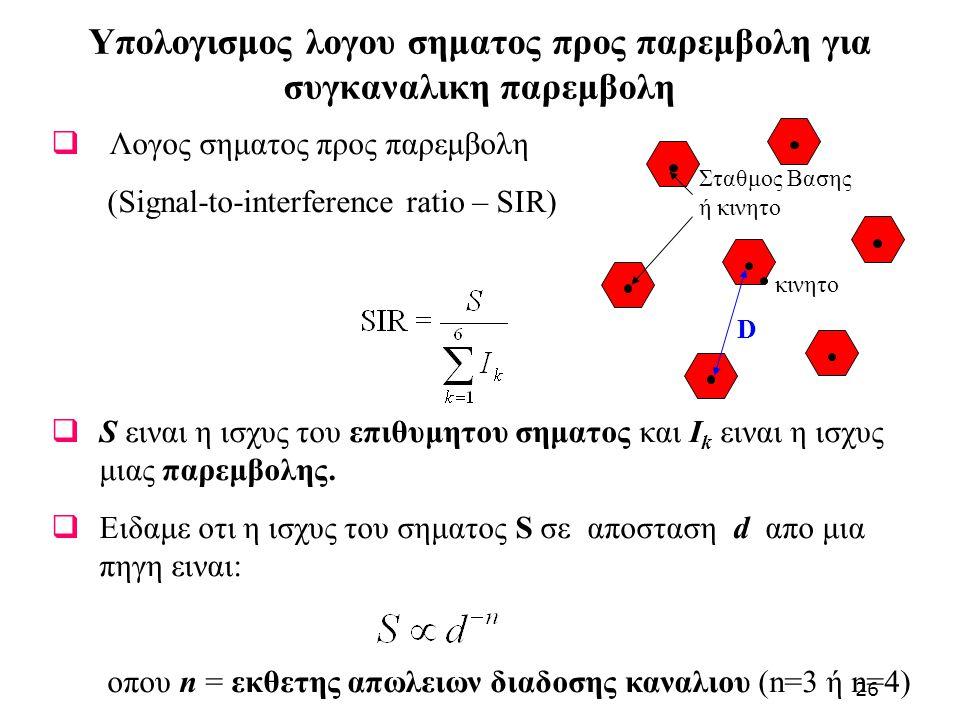 Υπολογισμος λογου σηματος προς παρεμβολη για συγκαναλικη παρεμβολη