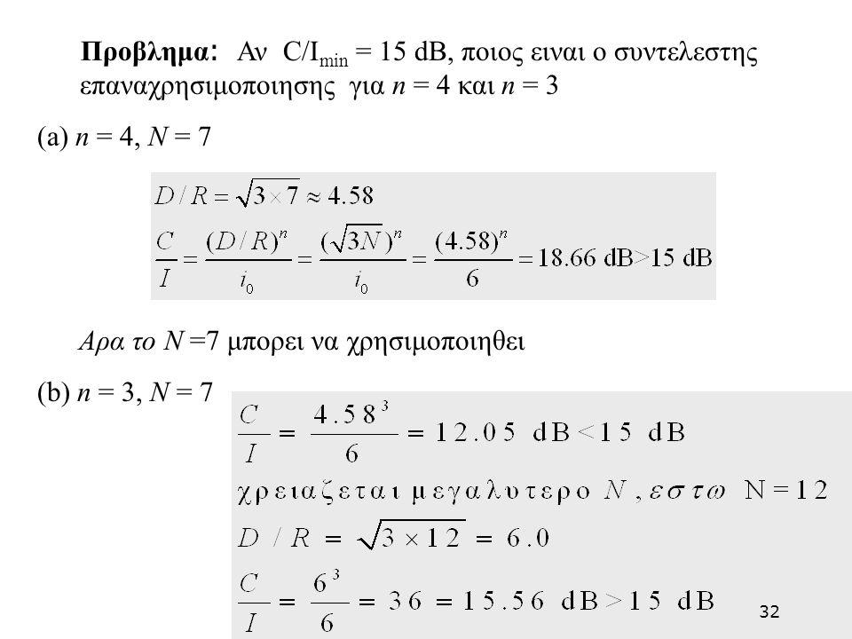 Προβλημα: Αν C/Imin = 15 dB, ποιος ειναι ο συντελεστης επαναχρησιμοποιησης για n = 4 και n = 3