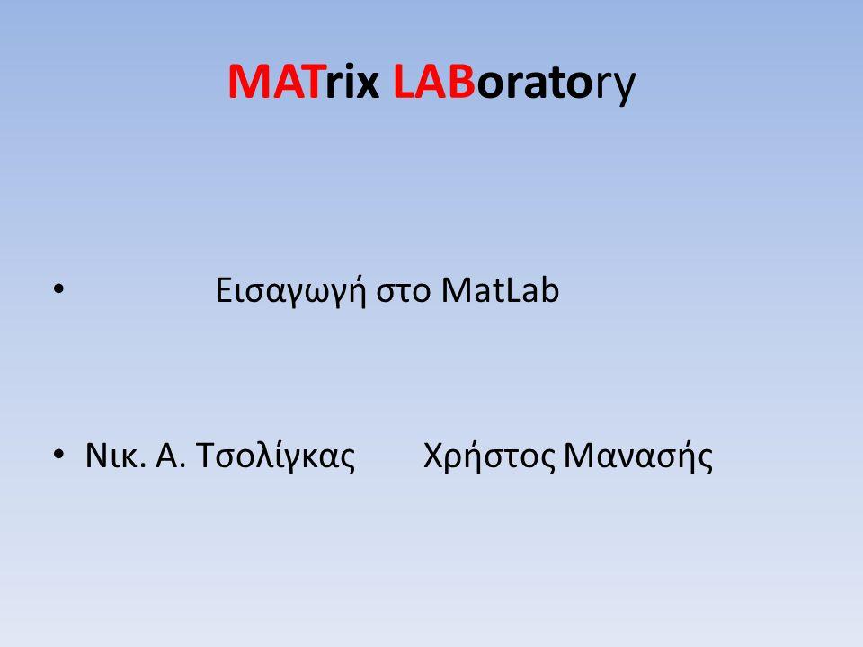 MATrix LABoratory Εισαγωγή στο MatLab