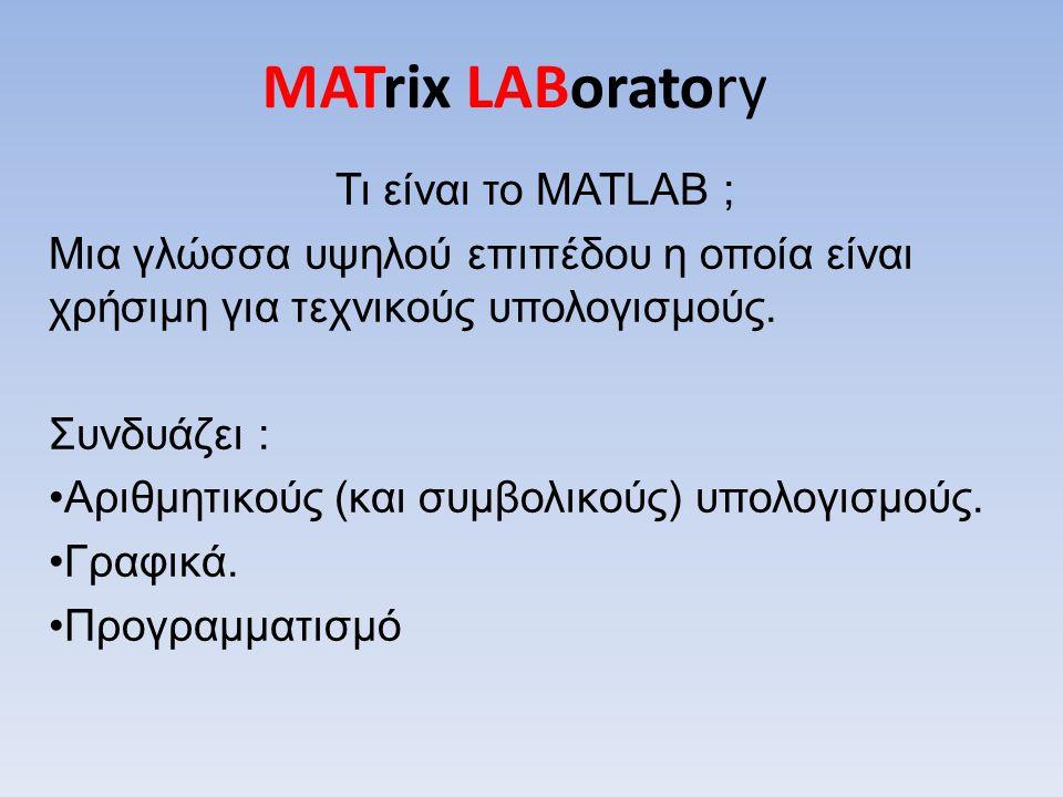 MATrix LABoratory Τι είναι το MATLAB ;